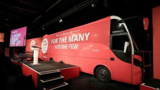 A miniature battle bus at Labour's campaign launch