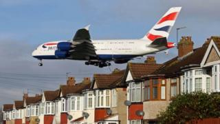 British Airways Airbus A380 landing at Heathrow