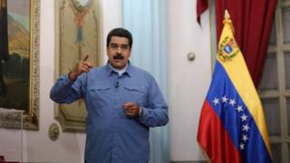 "Venezuela's President Nicolas Maduro speaks during his weekly broadcast ""En contacto con Maduro"" (In contact with Maduro) in Caracas, Venezuela August 16, 2016."