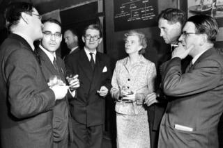 A farewell cocktail party for the delegates was given by the BBC on July 23 1954. Picture shows Mr Perry Wolff (USA), Mr Cecil McGiven (BBC Controller Programmes, Television), Mrs Mary Adams (BBC) Professor PMS Blackett (Professor of Physics, Imperial College) and Mr Ritchie Calder (Science journalist). Television producers and directors from ten countries attended in London a three week study course of educational and cultural programmes organised by the United Nations Educational, Scientific and Cultural Organisation in conjunction with the BBC.