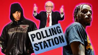 A photoshopped imaged of grime artists Yizzy and AJ Tracey with Jeremy Corbyn