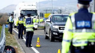 Northern Ireland Gardaí (Irish police) at a checkpoint