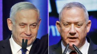 Composite image of Benjamin Netanyahu and Benny Gantz