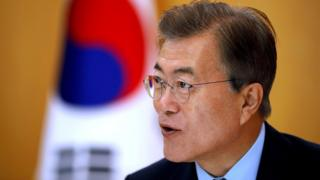 South Korean President Moon Jae-in speaks during an interview with Reuters at the Presidential Blue House in Seoul, South Korea June 22, 2017.