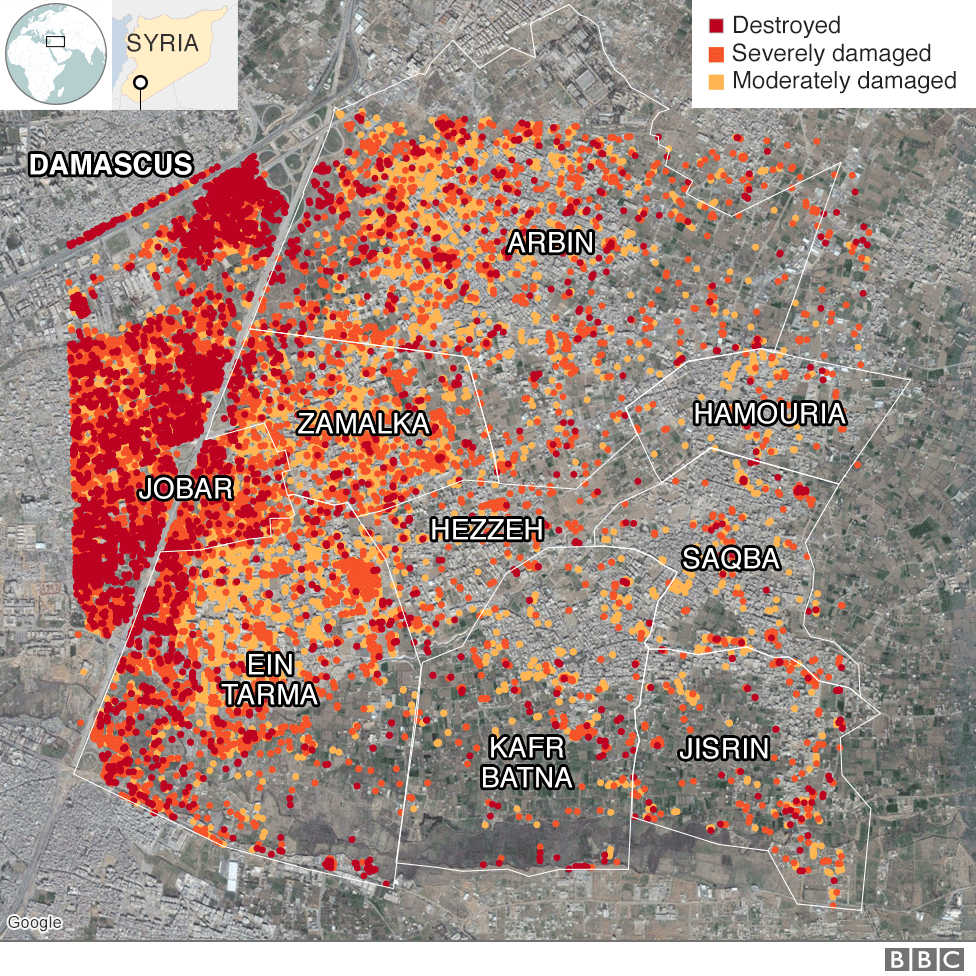 Map showing damage levels in Eastern Ghouta, Syria, up to December 2017