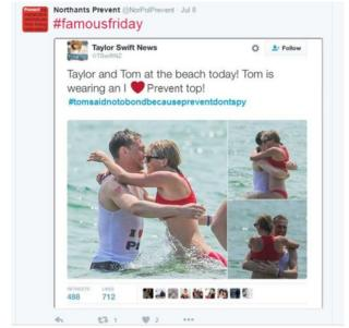 Tom Hiddleston and Taylor Swift in edited tweet