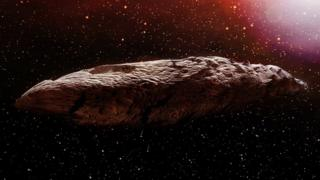 Artist's impression of the Oumuamua asteroid