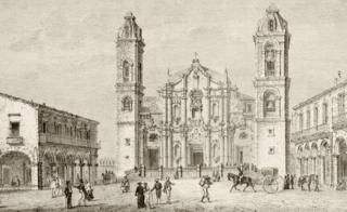 The Cathedral in Havana, Cuba circa 1880s. From a 19th century illustration.