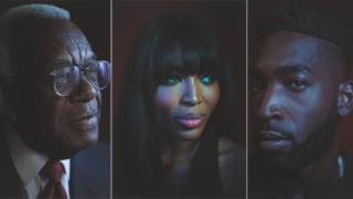 Left to right: Sir Trevor McDonald, Naomi Campbell and Tinie Tempah