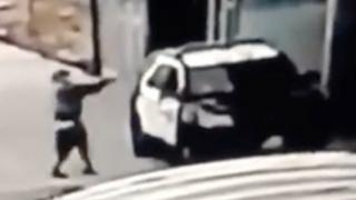 A suspect opens fire on police in a video shared by LA police