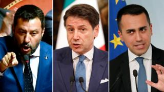 Matteo Salvini, leader of the League, Italy's Prime Minister Giuseppe Conte and Five Star leader Luigi Di Maio