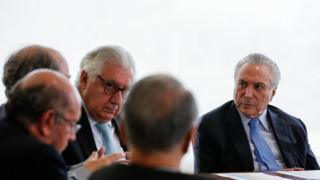 O presidente Michel Temer durante reunião