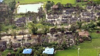 An aerial view showing the burnt-out village near Maungdaw township in Rakhine State, western Myanmar, 27 September 2017