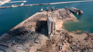 Beirut grain silos at centre of blast site