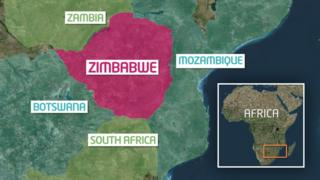 Map showing where Zimbabwe is