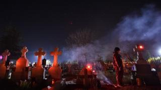 Palm Sunday celebrations in the village of Herasti, south of Bucharest, on 11 April 2020