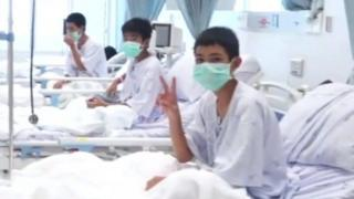 Thai boys in hospital