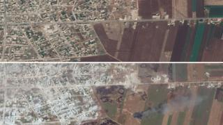 Satellite images from 20 July 2018 (top) and 26 May 2019 (bottom) showing damaged or destroyed buildings and apparent aerial bombardment in Idlib province, Syria