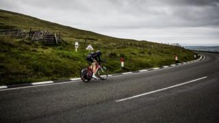 Cyclist on Isle of Man Mountain Road