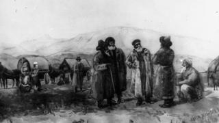 Орусиядан жер которуп келгендер менен жергиликтүү кыргыздардын жолугушуусу.