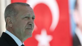 Cumhurbaşkanı Recep Tayyip Erdoğan ve Türk bayrağı
