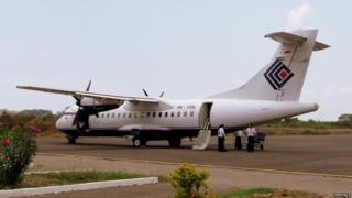 The missing plane, pictured in 2008 at Labuan Bajo airport on the island of Flores in central Indonesia