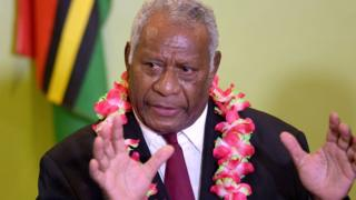 Vanuatu President Baldwin Lonsdale speaks at a press conference at Vanuatu International Airport