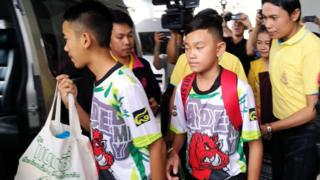 Some of the rescued twelve members of the Wild Boar soccer team depart from the Chiangrai Prachanukroh Hospital in Chiang Rai province, Thailand, 18 July 2018