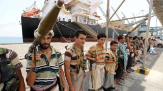 Houthi rebels in Salih, Yemen, 11 May