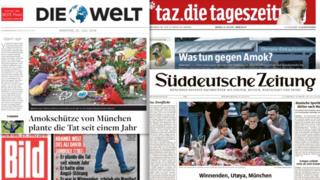 Germany's newspaper front pages on 25 July 2016 cover the aftermath of the Munich shooting attacks three days earlier.
