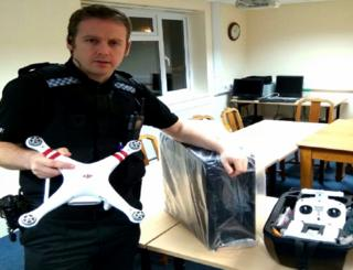 PC Craig Purcell with seized drone