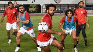 Mohamed Salah training with Egypt