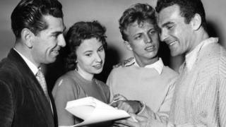 Ruby Murray pictured with screenwriter Larry Forrester, Tommy Steele and producer Ernest Maxin.