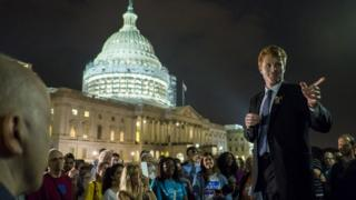 Rep. Joe Kennedy III (D-MA) speaks to supporters of House Democrats taking part in a sit-in on the House Chamber outside the U.S. Capitol on 23 June 2016 in Washington, DC.