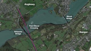 Graphic showing where the third Menai crossing will go