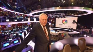David Dimbleby presenting the BBC's 2015 general election programme
