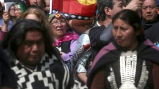Thousands of ethnic Mapuches, Chile's largest indigenous group march in support of the Mapuche resistance in Santiago on October 9, 2017