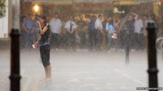 Rain on high street