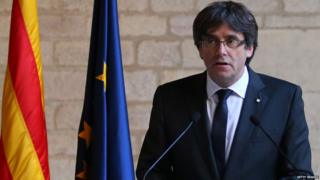 atalan President Carles Puigdemont makes a statement at the Catalan Government building Generalitat de Catalunya on October 26, 2017 in Barcelona, Spain.