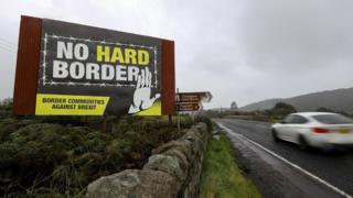 A sign near the Irish border that reads: No hard border - Border Communities Against Brexit