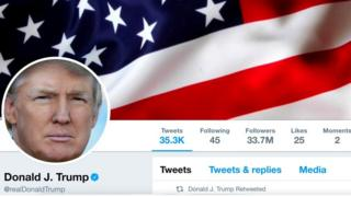 The masthead of U.S. President Donald Trump's @realDonaldTrump Twitter account as seen on July 11, 2017.