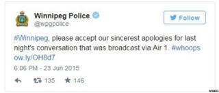 Winnipeg police tweet 24 June 2015