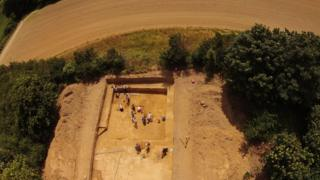 Aerial shot of the dig in rural Jersey