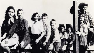 The White House Roy Rogers and Dale Evans with their family on their California ranch - Marion is third left