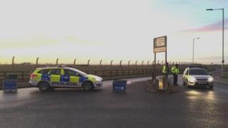 Police outside RAF Mildenhall