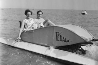 Couple in a pedalo