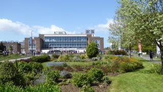 The front entrance of Swansea University