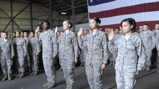 US troops are sworn in at a ceremony at Incirlik airbase, Turkey, in December 2012 (file image)