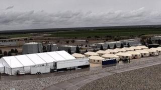 Photo of tents set up to house children