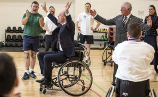 Prince William plays wheelchair basketball at Stanford Hall